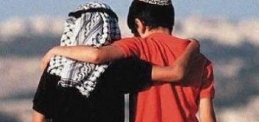 Israeli Jews and Palestinian Arabs: two boys with arms around each other