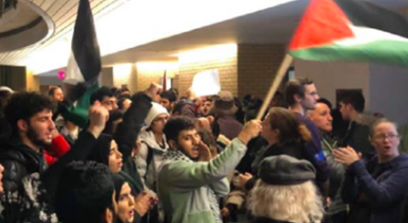 Photograph from FB of anti-Zionist protestors at York University
