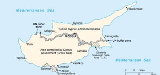 Cyprus map showing Greek and Turkish sides