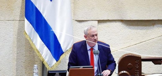 Benny Gantz gives speech from Knesset Speaker's podium
